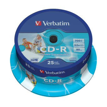 VERBATIM CD-R 700MB Printable (cake 25szt.)